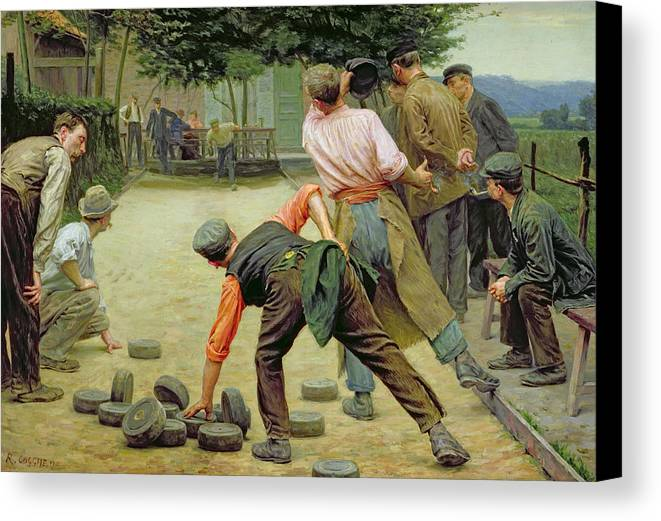 A Game Of Bourles In Flanders Canvas Print featuring the painting A Game Of Bourles In Flanders by Remy Cogghe
