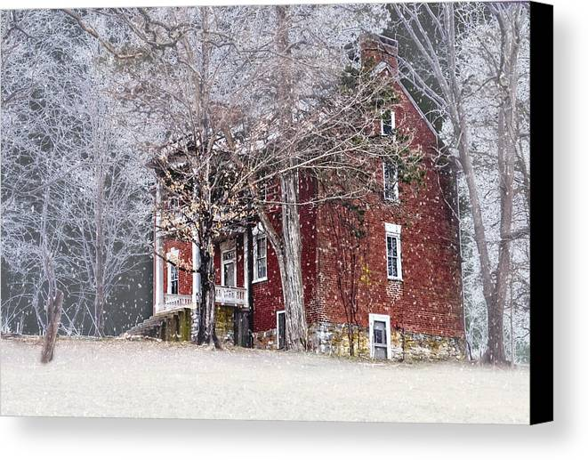 Snow Canvas Print featuring the photograph A Snowy Night by Kathy Jennings