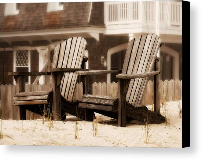 Adirondack Chairs On The Beach Canvas Print featuring the photograph Adirondack Chairs On The Beach - Jersey Shore by Angie Tirado