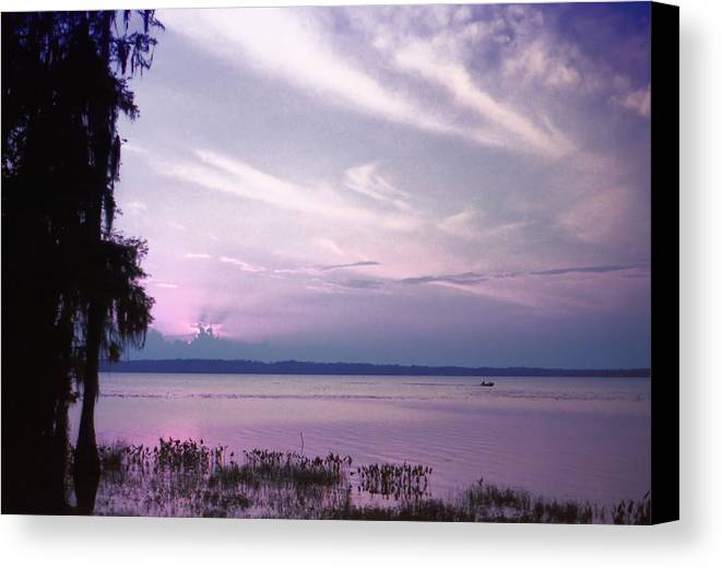 Blue Canvas Print featuring the photograph Brilliant Everglades Sunset by Lynnette Johns