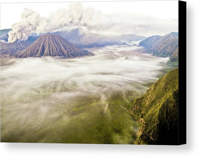 Horizontal Canvas Print featuring the photograph Bromo Volcano Crater by Photography by Daniel Frauchiger, Switzerland