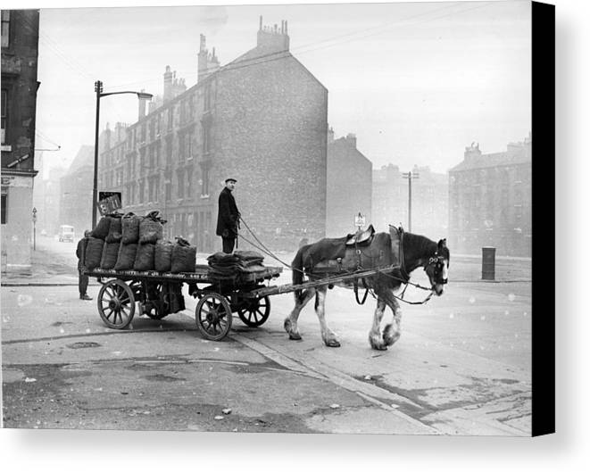 Adult Canvas Print featuring the photograph Coalman And Cart by Albert McCabe
