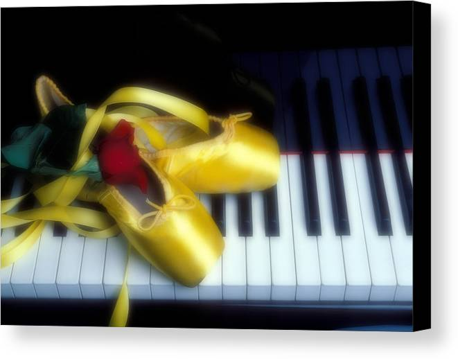 Ballet Shoes Shoe Canvas Print featuring the photograph Ballet Shoes On Piano Keys by Garry Gay