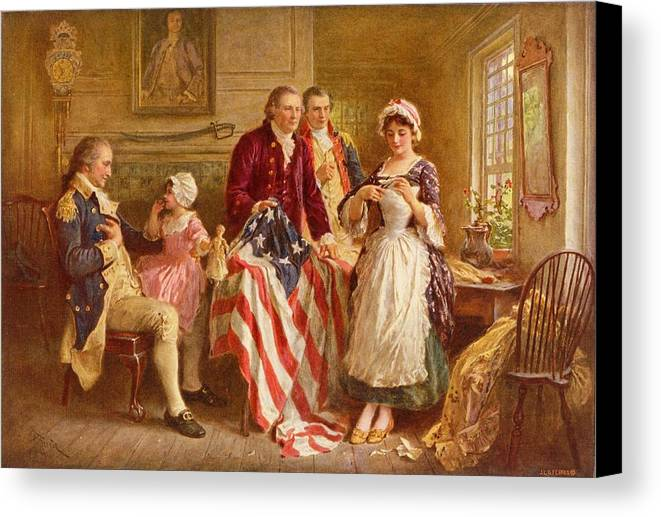 Betsy Ross Canvas Print featuring the painting Betsy Ross 1777 by Jean Leon Gerome Ferris