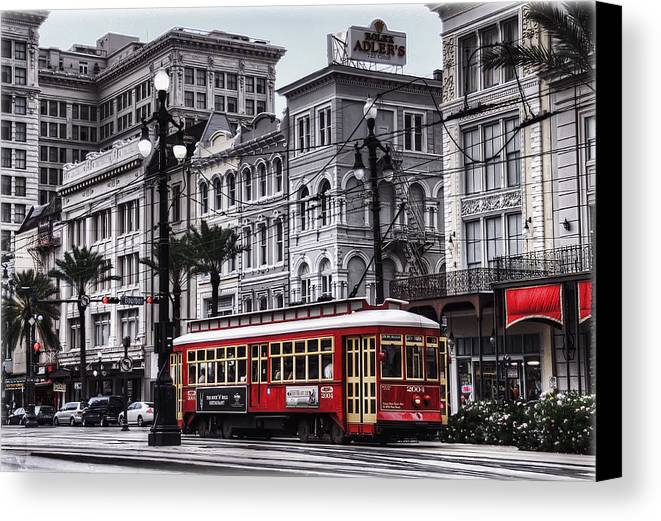 Nola Canvas Print featuring the photograph Canal Street Trolley by Tammy Wetzel