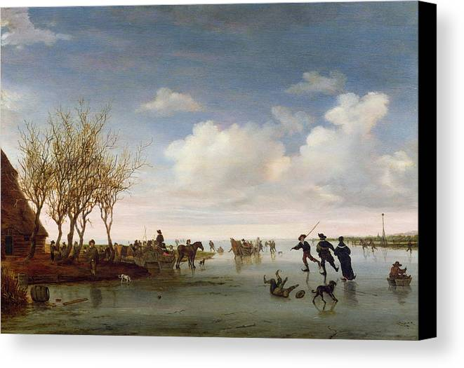 Dutch Canvas Print featuring the painting Dutch Landscape With Skaters by Salomon van Ruysdael