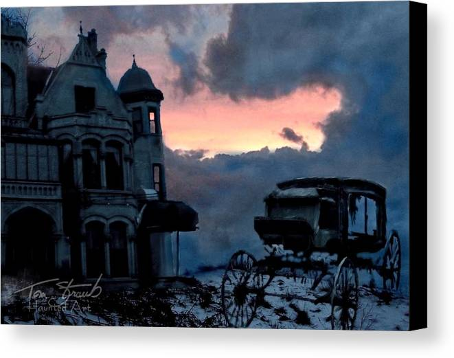 Haunted Mansion Canvas Print featuring the digital art Keg And Carriage by Tom Straub