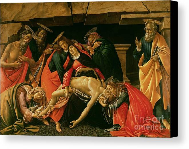 Lamentation Canvas Print featuring the painting Lamentation Of Christ by Sandro Botticelli
