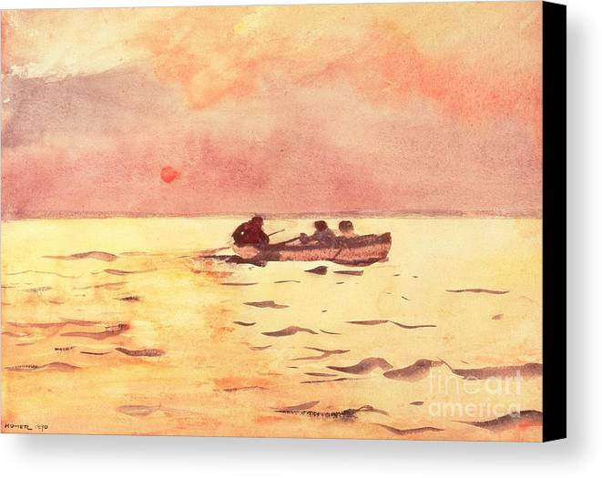 Rowing Home Canvas Print featuring the painting Rowing Home by Winslow Homer