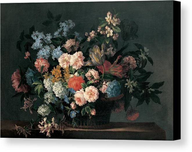 Flower Canvas Print featuring the painting Still Life With Basket Of Flowers by Jean-Baptiste Monnoyer
