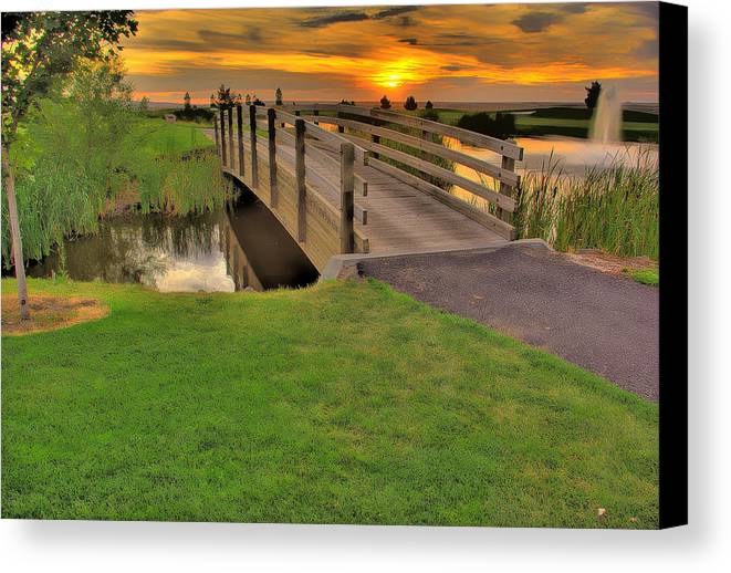 Landscape Canvas Print featuring the photograph Sunset Foot Bridge by Dale Stillman