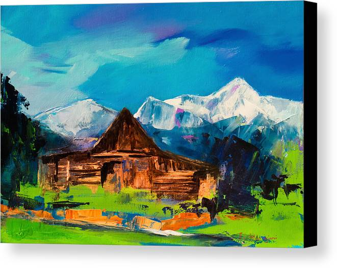 Barn Canvas Print featuring the painting Teton Barn by Elise Palmigiani