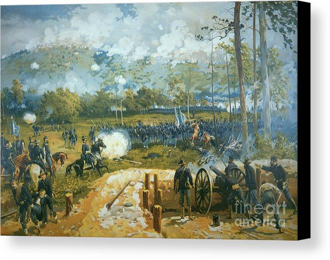 The Battle Of Kenesaw Mountain Canvas Print featuring the painting The Battle Of Kenesaw Mountain by American School