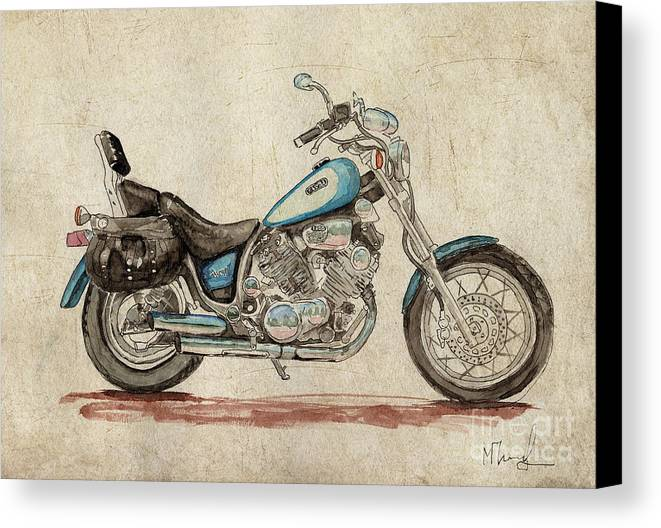 Yamaha Canvas Print featuring the painting Yamaha Xv 1100 Virago by Max Maier