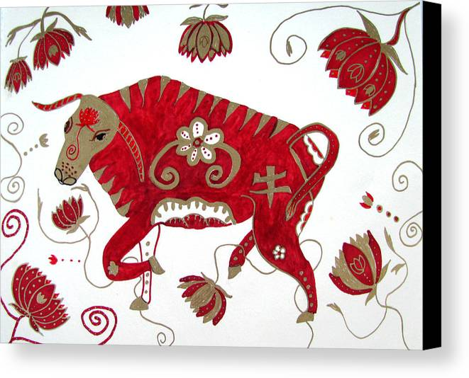 Ox Canvas Print featuring the drawing Chinese Year Of The Ox by Barbara Giordano