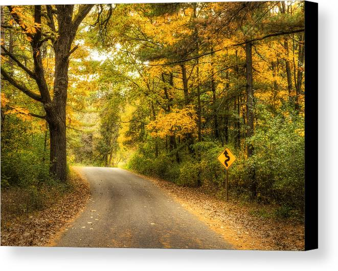 Autumn Canvas Print featuring the photograph Curves Ahead by Scott Norris