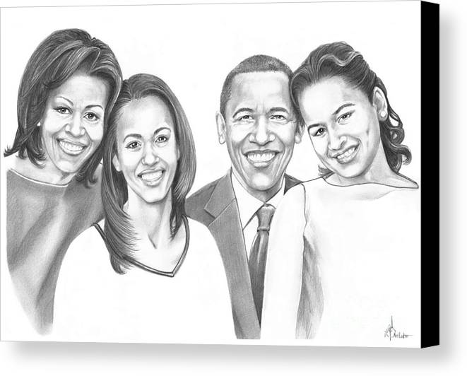 Barrack Canvas Print featuring the drawing First-family 2013 by Murphy Elliott