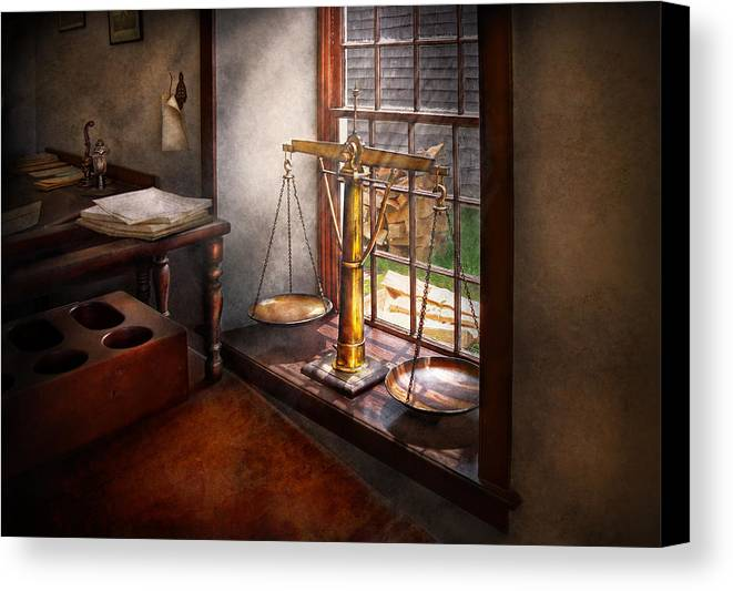 Hdr Canvas Print featuring the photograph Lawyer - Scales Of Justice by Mike Savad