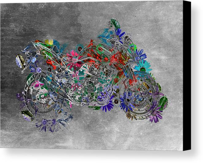 Moto Digital Art Canvas Print featuring the digital art Moto Art Floral Sp01bb by Variance Collections
