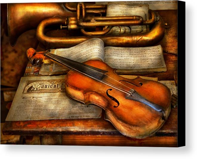 Suburbanscenes Canvas Print featuring the photograph Music - Violin - Played It's Last Song by Mike Savad