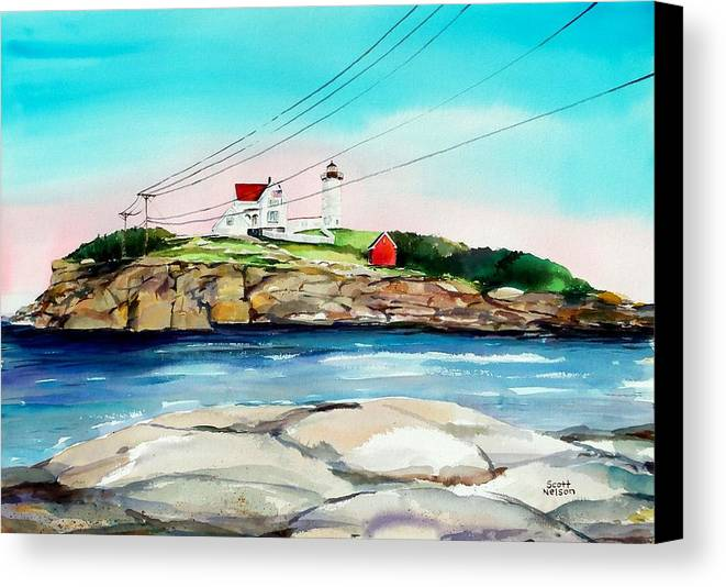 Nubble Lighthouse Canvas Print featuring the painting Nubble Lighthouse Maine by Scott Nelson