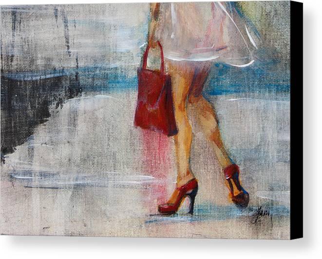 Urban Canvas Print featuring the painting Summer Rain by Jani Freimann