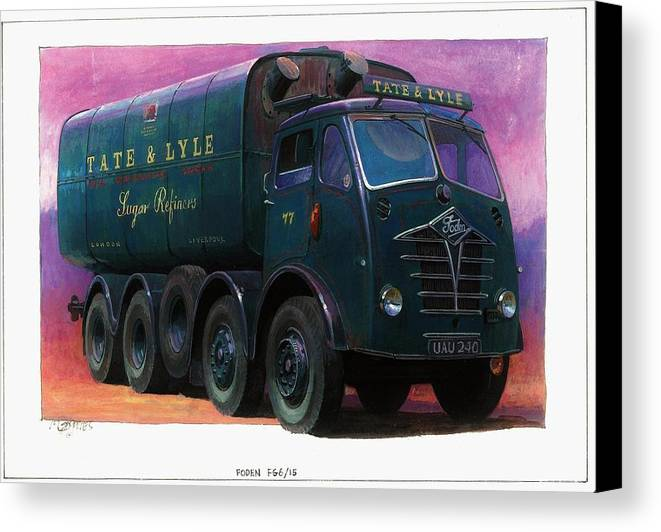 Lorry Canvas Print featuring the painting Tate And Lyle Foden. by Mike Jeffries