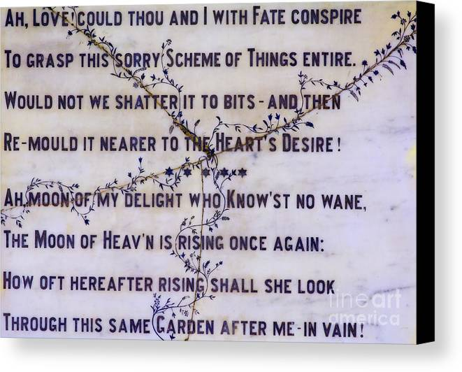 Two Stanzas Canvas Print featuring the photograph Two Poems On Marble by Moira Rowe