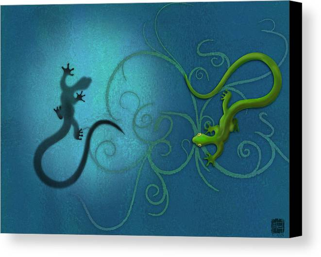 Gecko Canvas Print featuring the digital art water colour print of twin geckos and swirls Duality by Sassan Filsoof