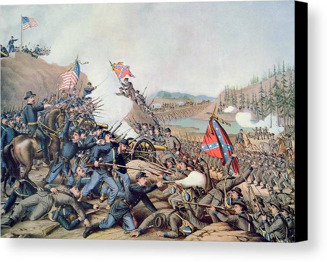 Battle Of Franklin Canvas Print featuring the painting Battle Of Franklin November 30th 1864 by American School