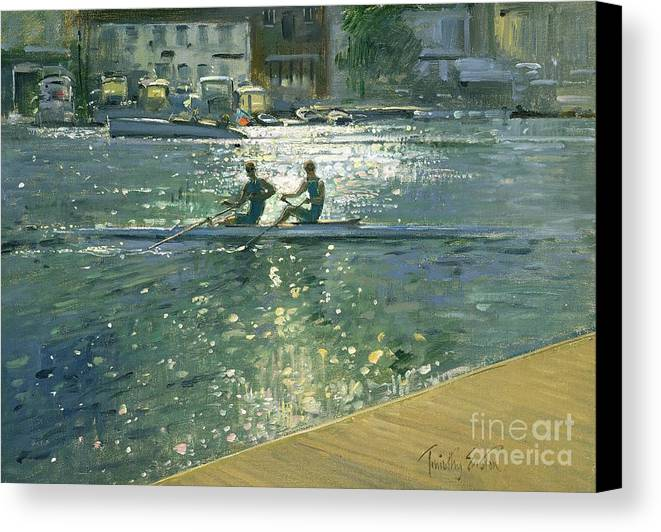 Reflection; River Thames; Sport; Rower; Row; Boat; Coxless Pair; Sunlight; Water; Sports Canvas Print featuring the painting Crossing The Light Break - Henley by Timothy Easton