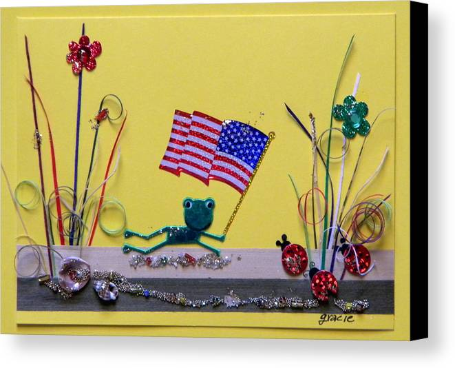 4th July Canvas Print featuring the mixed media Patriot Frog by Gracies Creations