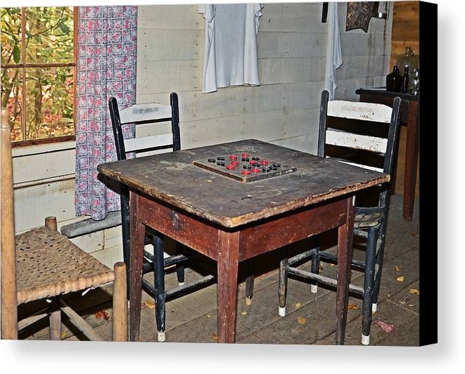 Checkers Canvas Print featuring the photograph Playing Checkers by Susan Leggett