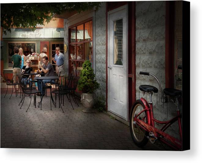 Hdr Canvas Print featuring the photograph Storefront - Frenchtown Nj - At A Quaint Bistro by Mike Savad