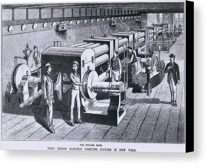 History Canvas Print featuring the photograph The Dynamo Room In The First Edison by Everett