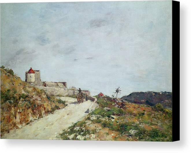 The Canvas Print featuring the painting The Road To The Citadel At Villefranche by Eugene Louis Boudin