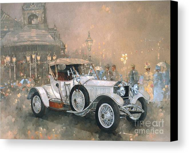 Seaside; Evening; Promenade; Car; Automobile; Rolls Royce; Vintage; Bandstand; Classic Cars; Vintage Cars; Nostalgia; Resort; Old Timer ; Scarborough Canvas Print featuring the painting Ghost In Scarborough by Peter Miller