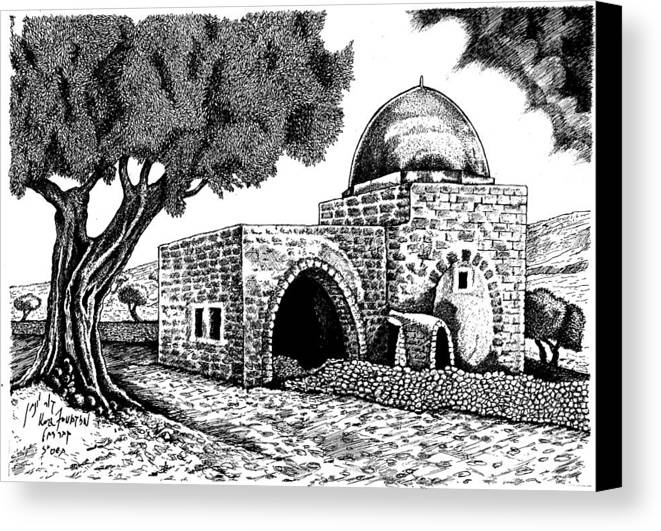 Landscape Art Canvas Print featuring the drawing Kewer- Tomb Rachel by Jonatan Kor