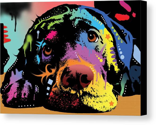 Labrador Canvas Print featuring the painting Lying Lab by Dean Russo