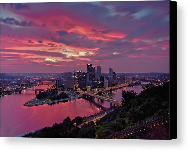 Pittsburgh Canvas Print featuring the photograph Pittsburgh Dawn by Jennifer Grover