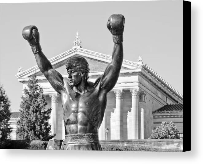 rocky Statue Canvas Print featuring the photograph Rocky Statue - Philadelphia by Brendan Reals