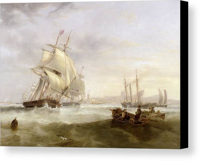 Shipping Off Hartlepool (oil On Canvas) By John Wilson Carmichael (1800-68) Canvas Print featuring the painting Shipping Off Hartlepool by John Wilson Carmichael
