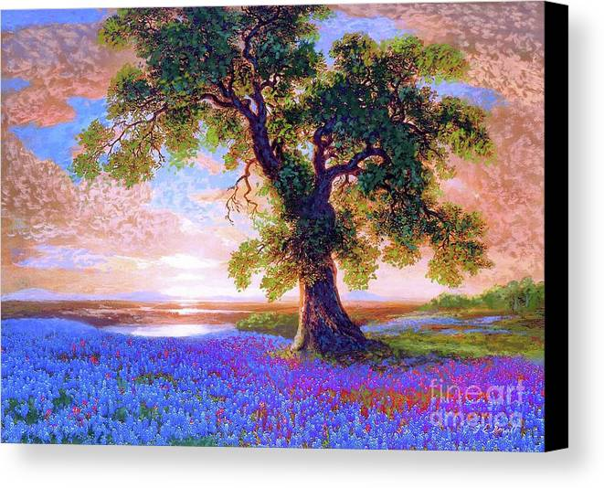 Bluebonnet Canvas Print featuring the painting Tree Of Tranquillity by Jane Small