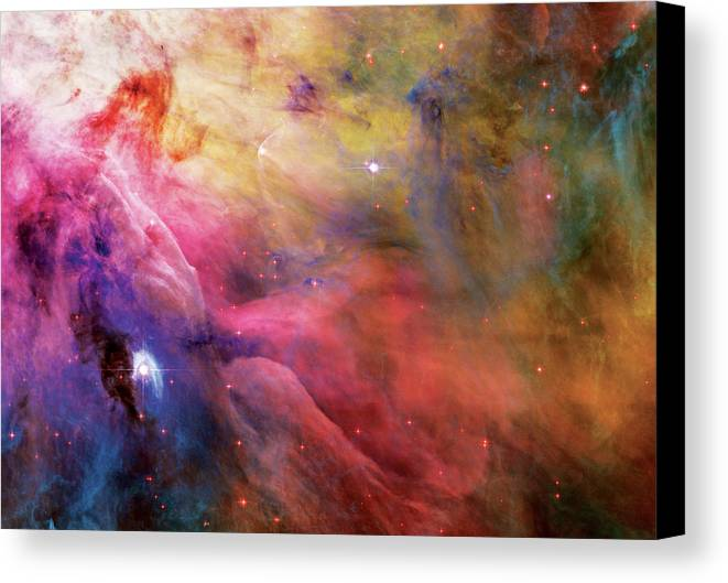 Nebula Canvas Print featuring the photograph Warmth - Orion Nebula by The Vault - Jennifer Rondinelli Reilly