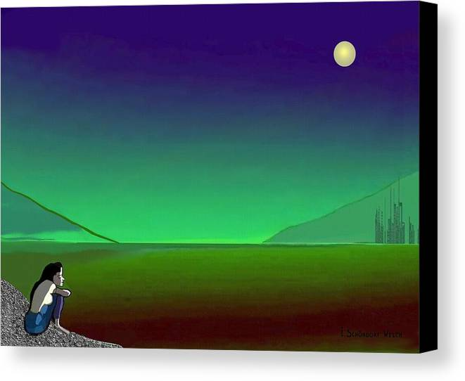 Night Canvas Print featuring the painting 011 - Moon River by Irmgard Schoendorf Welch