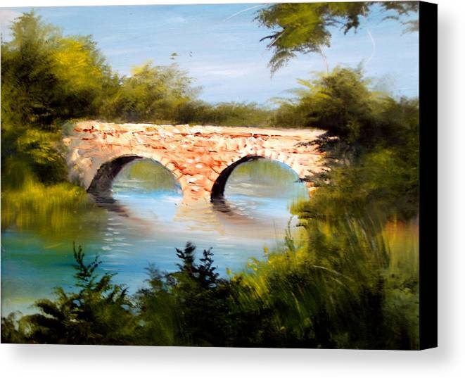 Landscape Canvas Print featuring the painting Bridge Under El Dorado Lake by Robert Carver