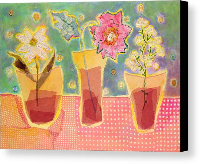 Flowers In A Glass Canvas Print featuring the mixed media Buttons by Diane Fine