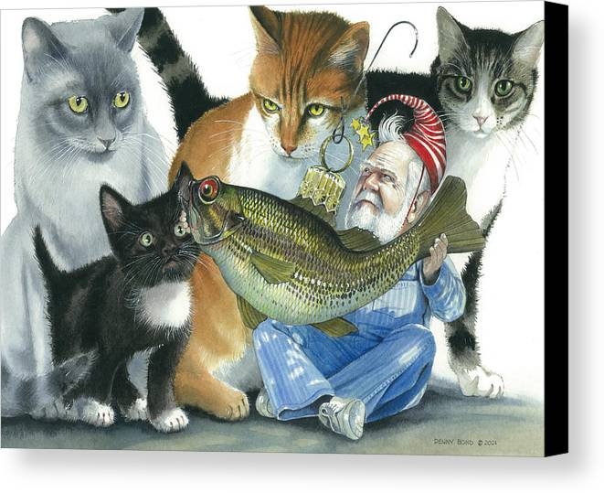 Santa Canvas Print featuring the painting Catatomic by Denny Bond