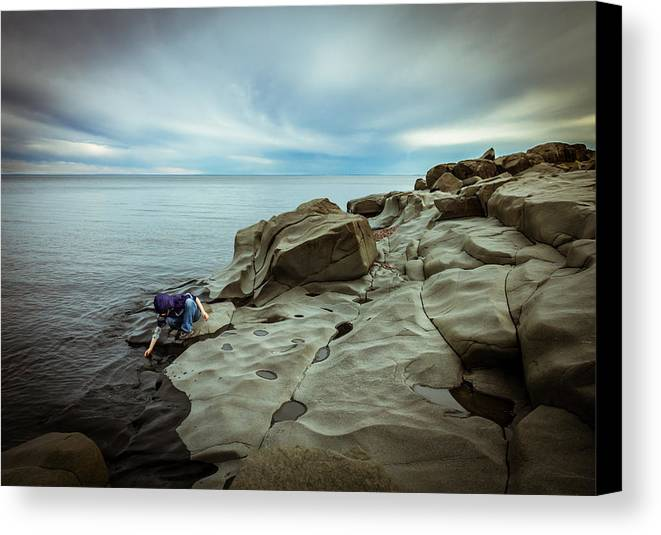 magic To The Touch lake Superior brighton Beach Duluth Nature greeting Cards northern Minnesota north Shore child human Element landscape Clouds Beach Magic Nature Canvas Print featuring the photograph Cool To The Touch by Mary Amerman