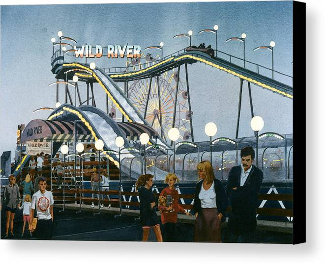 California Canvas Print featuring the painting Del Mar Fair At Night by Mary Helmreich
